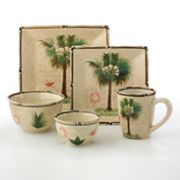 Corsica Bora Bora Collection - Palm Tree Square Dinnerware Pattern