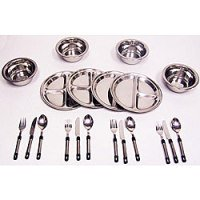 Doskocil Stainless Steel Dinnerware Set